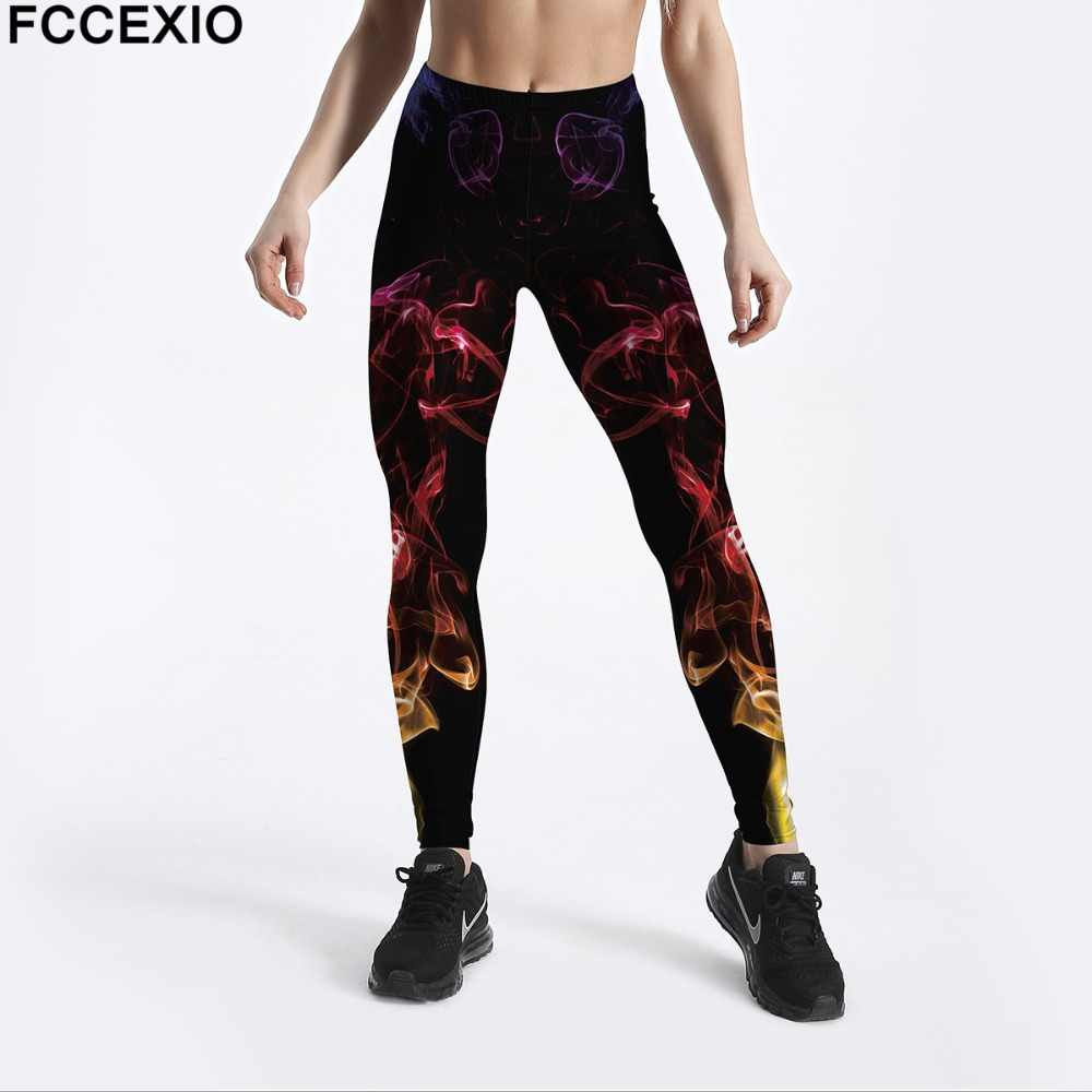 FCCEXIO kobiety treningowe legginsy wysoka talia Fitness Legging kolorowy dym sen druku legginsy kobiece nogi spodnie duży rozmiar legginsy