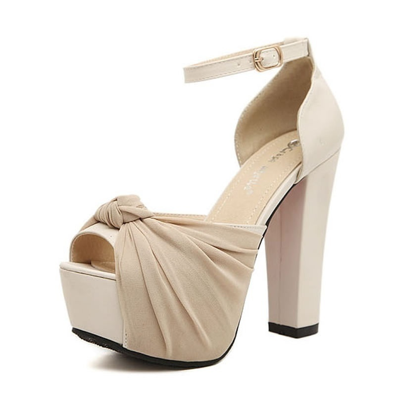 Summer night sexy bowknot  hollow out high heels ,Beige+black fish mouth women's ankle strap pumps zapatillas  mujer (34-39)
