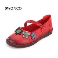SWONCO Women S Flats Female Shoes Genuine Leather Folk Style Shoe Female Shoes Handmade Fashion Loafers