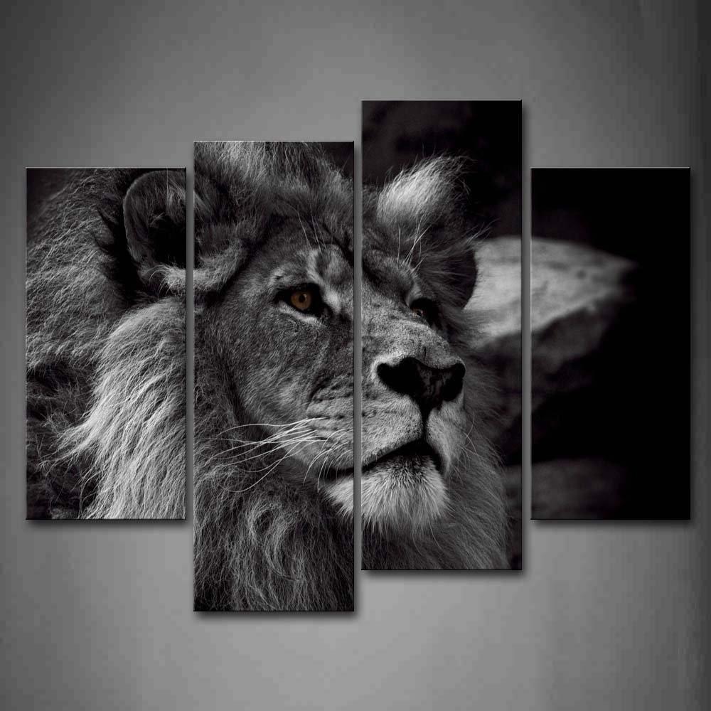 Souvent Tête de Lion Portrait Mur Art Peinture Noir Et Blanc Gris photos  MN94