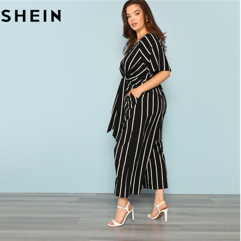 SHEIN Black And White Striped Raglan Sleeve Plus Size Belted Women ...