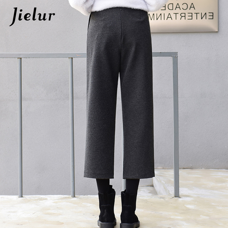 a813a114d Jielur Wide Leg Capri Pants Female High Waist Pockets Casual Straight  Cropped Trousers Winter Korean Loose Black Pants for Women-in Pants &  Capris from ...