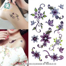 Body Art Waterproof Temporary Tattoos For Men And Women 3d Sexy Purple Flower Design Small Arm Tattoo Sticker RC2293