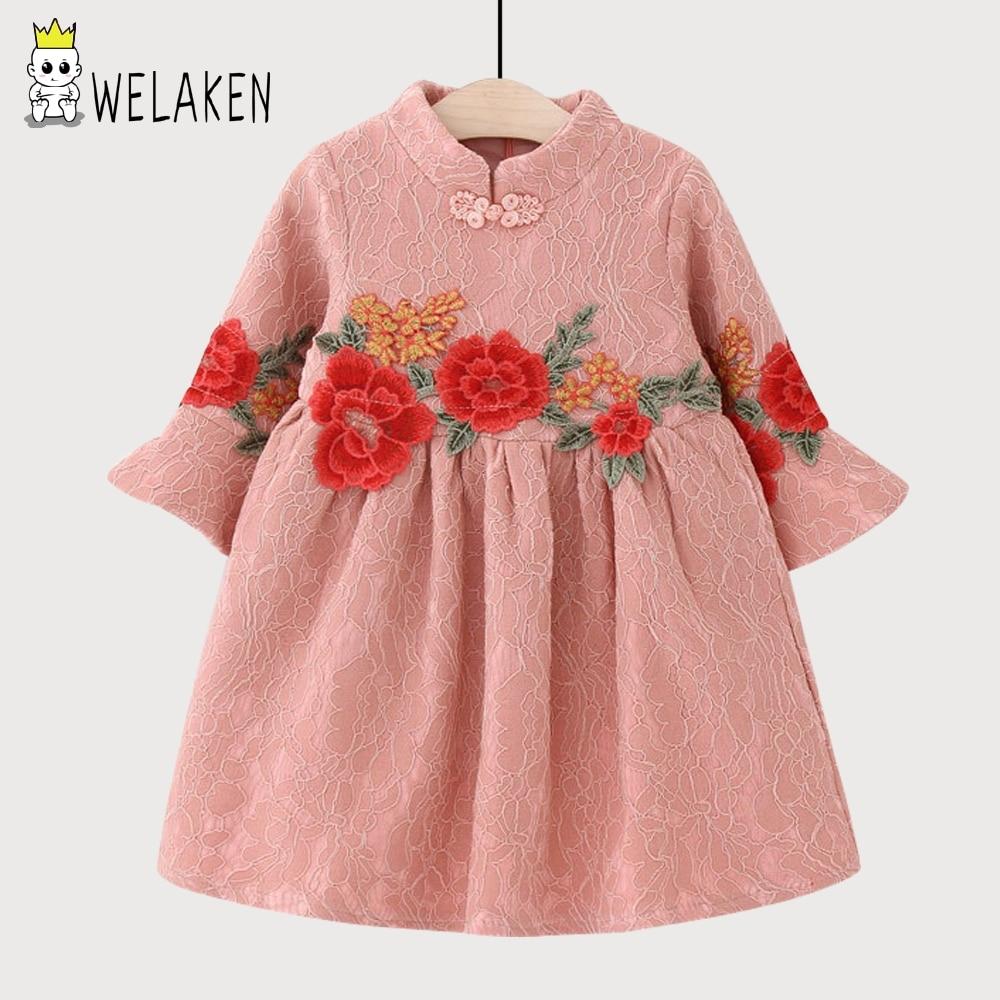 Welaken Fleurs Motif Filles Robe 2018 Nouveau Arrivent À Volants À Manches Longues Enfants Vêtements de Style Ethnique De Mode Enfants Robes