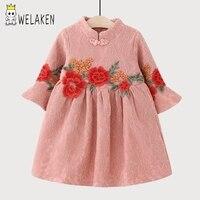 Welaken Flowers Pattern Girls Dress 2017 New Arrive Ruffle Long Sleeve Children S Clothing Ethnic Style
