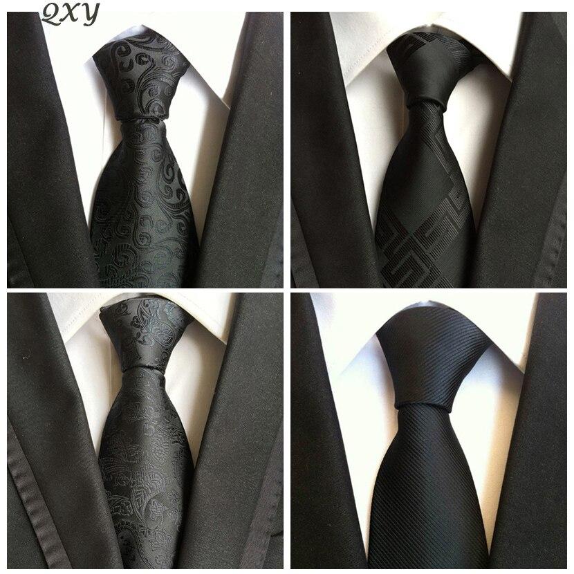 Модные мужские галстуки черный галстук платье бизнес Gravata Hombre Corbata Vestidos мужчины галстук Повседневное полиэстер шелковый галстук носовой пл…