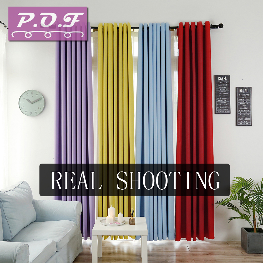 P.O.F Curtains For Living Room Two-sided Matte Solid Color Blackout Curtain Simple Modern Window Treatment  Custom Made