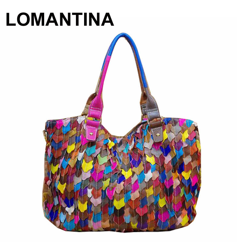 100 Genuine Leather Multi Colored Patchwork Women Fashion Leaf Mosaic Handbags Multifunctional Shoulder Tote Bag In Top Handle Bags From Luggage On