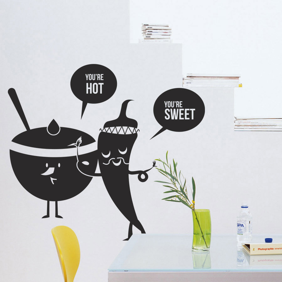 Kitchen Vinyl Wall Decal Fruit Vegetables Sweet Spicy Food ...