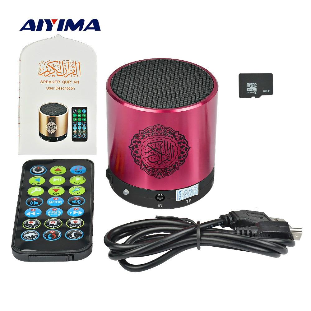 AIYIMA Mini portátil Corán altavoz SQ200 reproductor de música apoyo 8g TF tarjeta FM Control remoto traductor USB altavoces