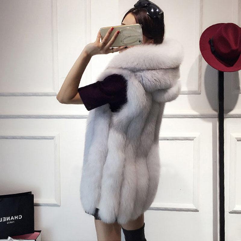 Большой размер 6XL меховой капюшон жилет женский искусственный Лисий мех жилет полосатый длинный меховой жилет женский без рукавов кроличий...
