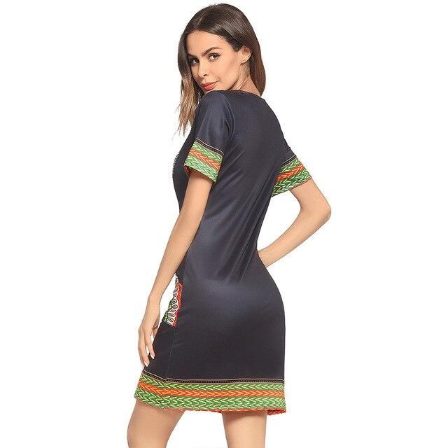 Dashiki Fashion New Small V-Neck Pocket Printed Dress for Women Africa Nation 2018 Europe and America Style Dashiki Dresses 4