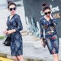 De gama alta de verano dress mujeres demin dress floral blue jeans vintage de manga larga de la vendimia con cuello en v mujeres lápiz vestidos vestido túnica