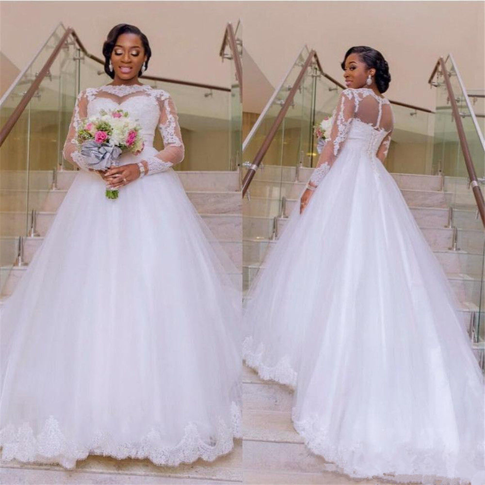 Plus Size Wedding Dress 2019 Ball Gown Bridal Dress Long Sleeve Sweep Train Luxury Lace Appliques Wedding Gown свадебное платье