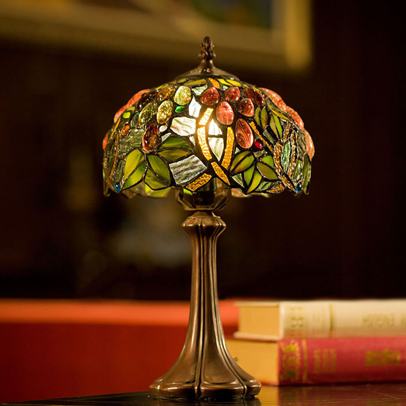 8 Inch Tiffany Table Lamps Luxurious Ancient Garden European Style E14 Bedside Lamps Living Room Decoration