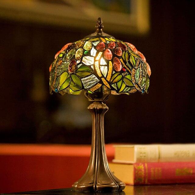 8 pouce tiffany lampes de table de luxe antique jardin style europ en e14 lampes de chevet salon. Black Bedroom Furniture Sets. Home Design Ideas