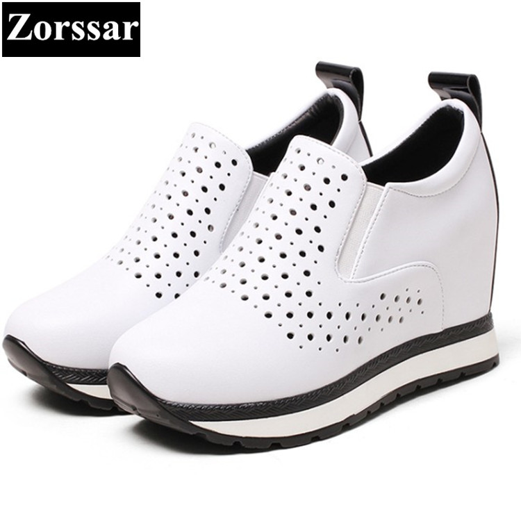 {Zorssar} 2017 Genuine leather Womens platform Shoes Wedges High heels Pumps Women height increasing shoes female casual shoes 2016 new women shoes spring womens platform genuine leather shoes pumps wedges female heels shoes sapatos femininos xj 056