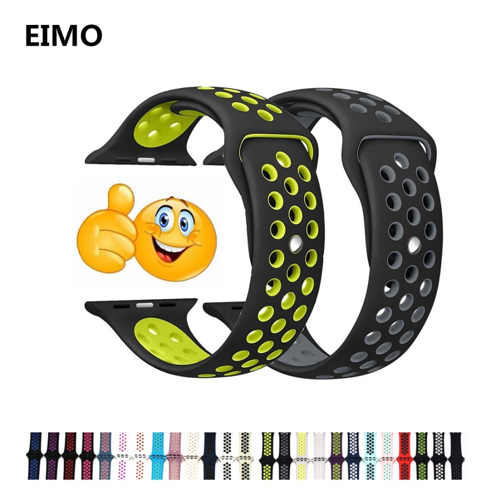 Silicone strap for apple watch band 42mm 38mm bracelet sport wrist belt Rubber watchband for iwatch 3/2/1 Nike+metal Adapter jansin 22mm watchband for garmin fenix 5 easy fit silicone replacement band sports silicone wristband for forerunner 935 gps