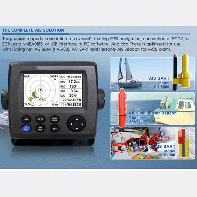 43 Color LCD Class B AIS Transponder Marine Ais Receiver Rechargeable Gps For Boat Fish
