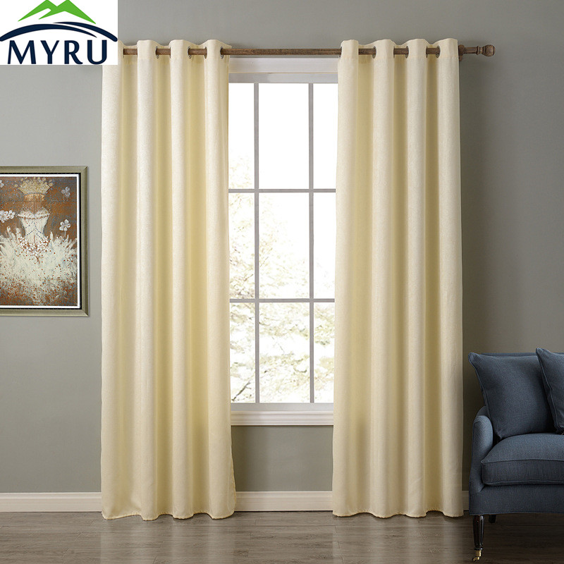 MYRU 3 Optional Colors Polyester Strong Solid Window Curtains 4 Sizes  Curtains Beige Blue Grey White