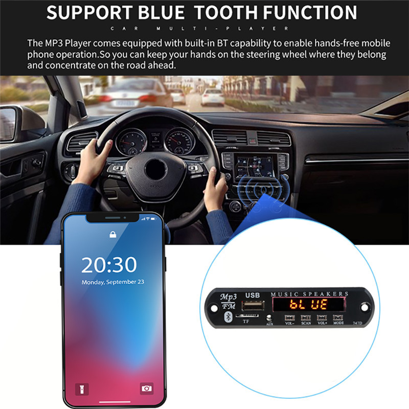 With Mic Handsfree Bluetooth MP3 Decoder Board Car FM Radio Module  Support FM TF USB AUX Audio Player Bluetooth car kit 12V1
