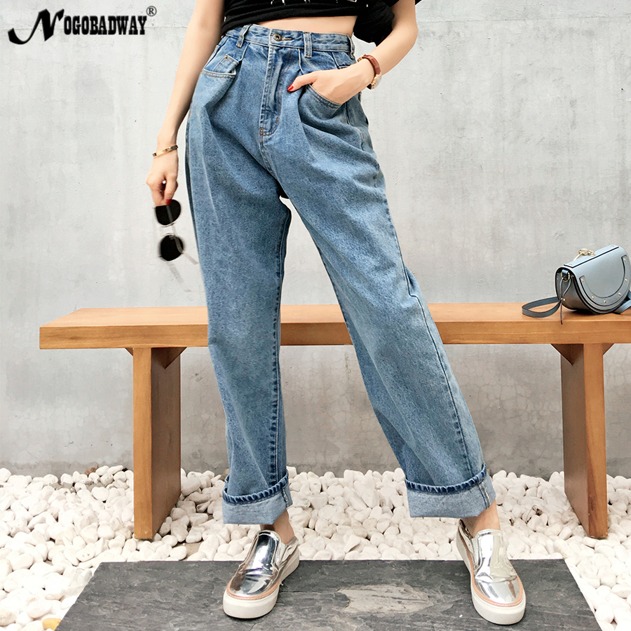 Women's Clothing Bottoms Guuzyuviz Vintage Casual Autumn Winter Jeans Woman High Waist Patch Work Cotton Washed Denim Pants Mujer Wide Leg Trousers Durable Service
