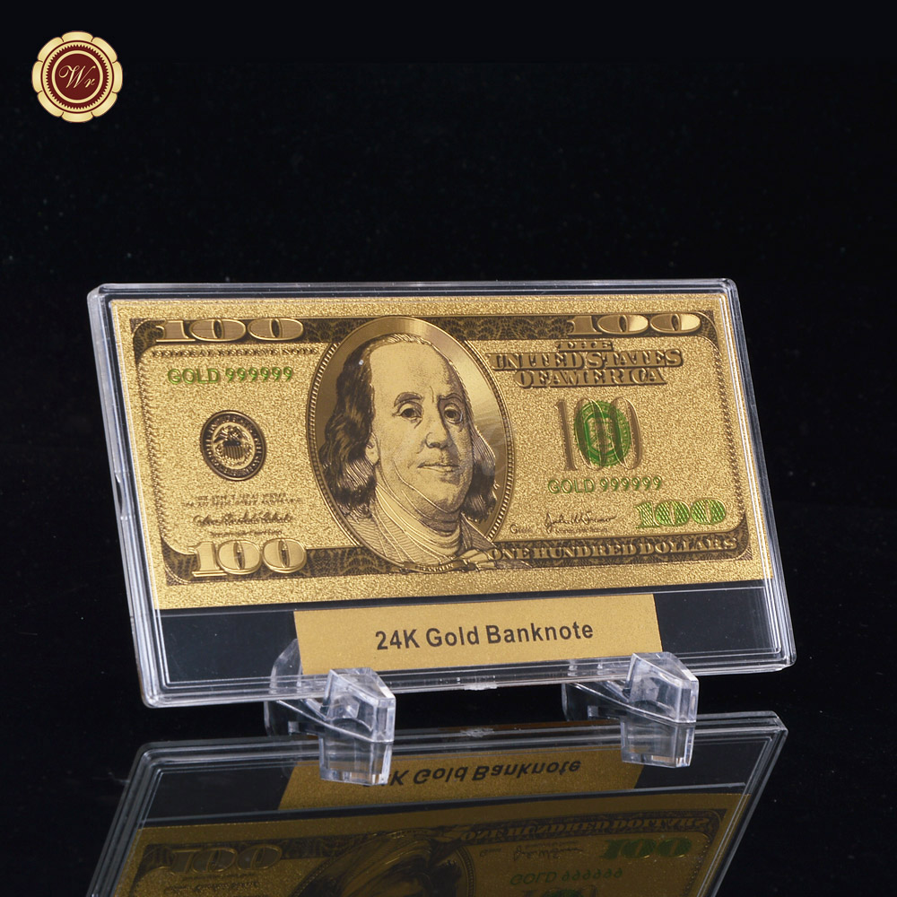 US $12 5 | 999 Gold Plated Banknote 5 Dollars The 16th president of the  United States Gold Bill with Plastic Frame Stand-in Gold Banknotes from  Home &