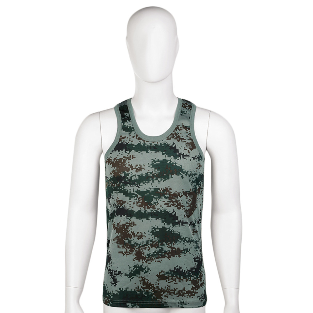 Fashion Style Men Military Style Men Vest Camouflage Tank Top Stretchy Wild Tight Gym Sport Skinny Bodybuilding Free Shipping New Varieties Are Introduced One After Another Sports Clothing