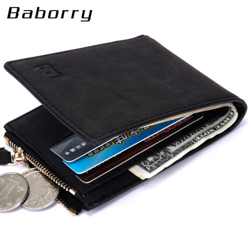 Men Wallets Coin-Bag Money Purses Dollar Zipper Small with England-Style Nubuck-Top Thin