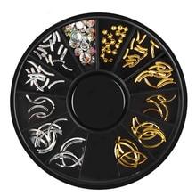 1 PCS Gold Silver Metal Rivets 3d Curve Strip Mixed Crystal Rhinestones Nail Art Decorations In Wheel For DIY