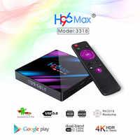 Più nuovo Android 9.0 TV BOX H96 MAX Plus 4 GB/32 GB 4 GB/64 GB di Smart TVBox RK3318 2.4G/5Ghz Wifi 4K H.265 Media Player Set top box