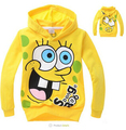 2014 original single children's sweater cartoon Sponge Bob pattern hooded sweater boys and girls sports sweater Free shipping