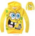 2014 original de una sola de los niños suéter de dibujos animados Bob esponja patrón de suéter con capucha niños y niñas sweater deportes envío gratuito
