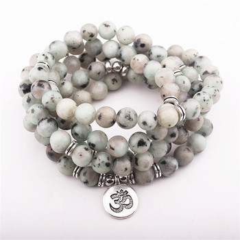 Chakra pulsera de las mujeres mate Amazonita escarchada 108 perlas Mala con Loto Om, Buda, encanto de Yoga pulsera collar Dropshipping. Exclusivo.