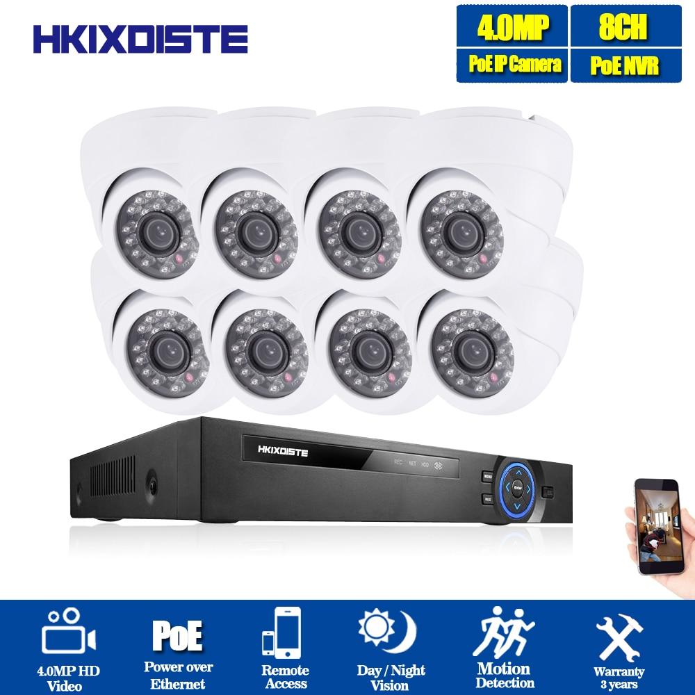 H 265 POE NVR 8CH 5MP System 8pcs 48V Super 4MP 2560X1440 Security Dome Camera kit