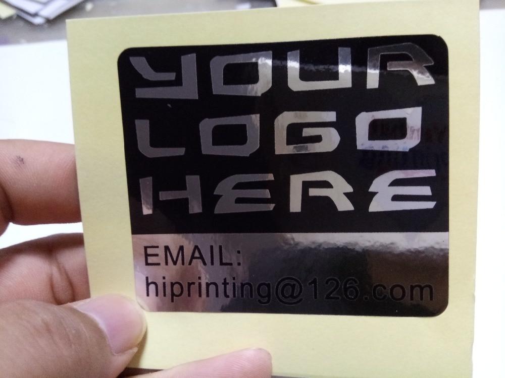 8x2 5cm gllossy silver sticker printing custom