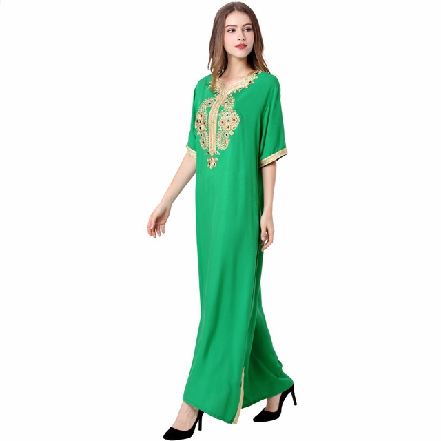 Muslim Women long sleeve long dress islamic clothing kaftan caftan moroccan maxi / long Abaya turkish ethnic dress hijab style