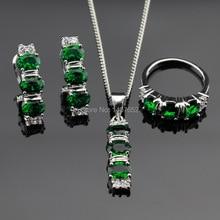 Verde Creado Esmeralda Color Plata Sistemas de La Joyería Para Las Mujeres Colgante/Collar/Pendientes de Aro/Anillos Caja de Regalo Libre hecho en China