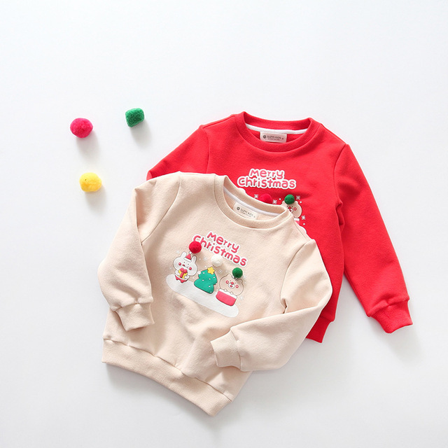 Осень и Зима Рождество Новый Южнокорейский детская теплая горячая стекаются печати и толстые пуловеры прекрасный
