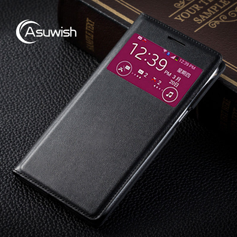 Asuwish S Smart View Back Flip Cover Leather Phone Case