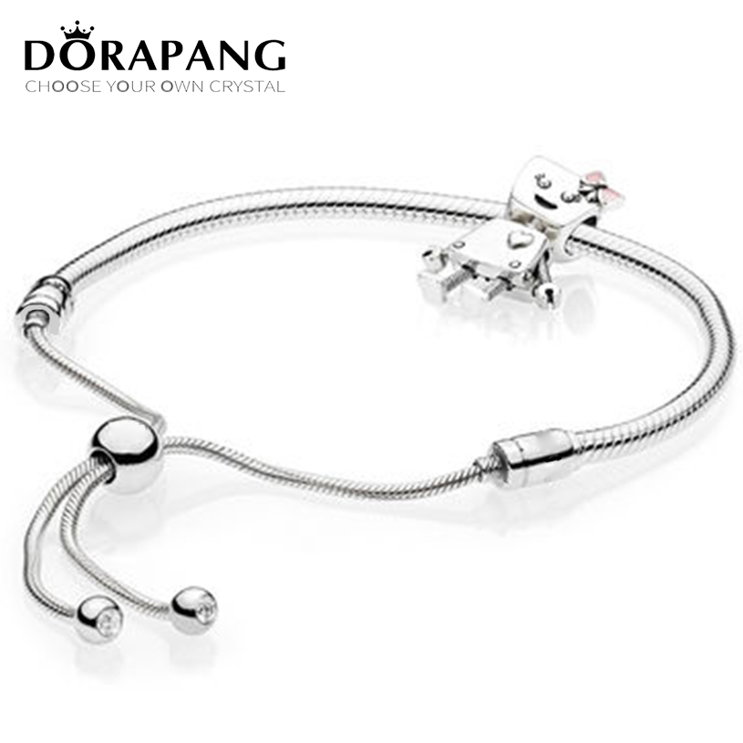 DORAPANG 100% Sterling Silver Brand New 1:1 Passion Charm Robot With Bracelet Set for 2018 Shine Original Design Gift For Women my passion for design