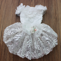 White Luxurious Wedding Dog Dress Flowers Design Pet Skirt Clothes Apparel 4 Sizes Available