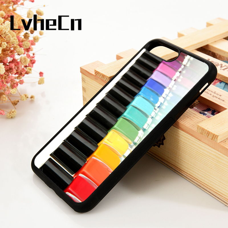 LvheCn 5 5S SE 6 6S Phone Cover Cases For iPhone 7 8 PLUS X Xs Max XR Soft Silicone Rubber Nail Polish Manicurist