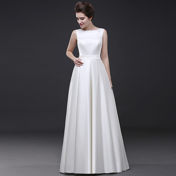 Holievery Ivory Satin Long Evening Formal Dresses with Pocket 2020 Simple Floor Length Prom Gown Lace Up Party Dress Abendkleid