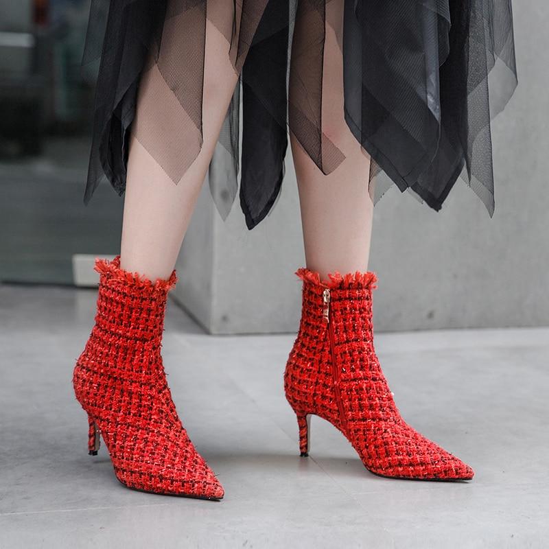 Para En Delgada Rojo Arranque Negro Msfair Mujeres De Moda Botas Punta Cremallera Tacones Mujer Zapatos Alto rojo Negro Chica Metal Tobillo El Tacón HqqTzw