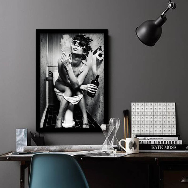 New Sexy Beauty Desire A Woman Drinking And Smoking Black Art Poster Modern Simple Fanshion Canvas Decor For Bathroom