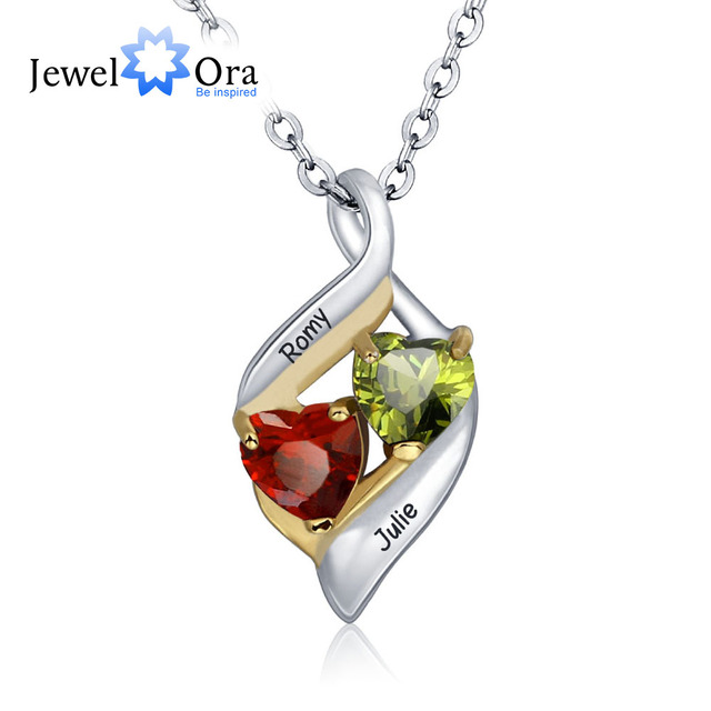 Personalized Pendants Necklaces DIY Birthstone Couple Hearts 925 Sterling Silver  Mother Daughter Necklaces (JewelOra NE101328)