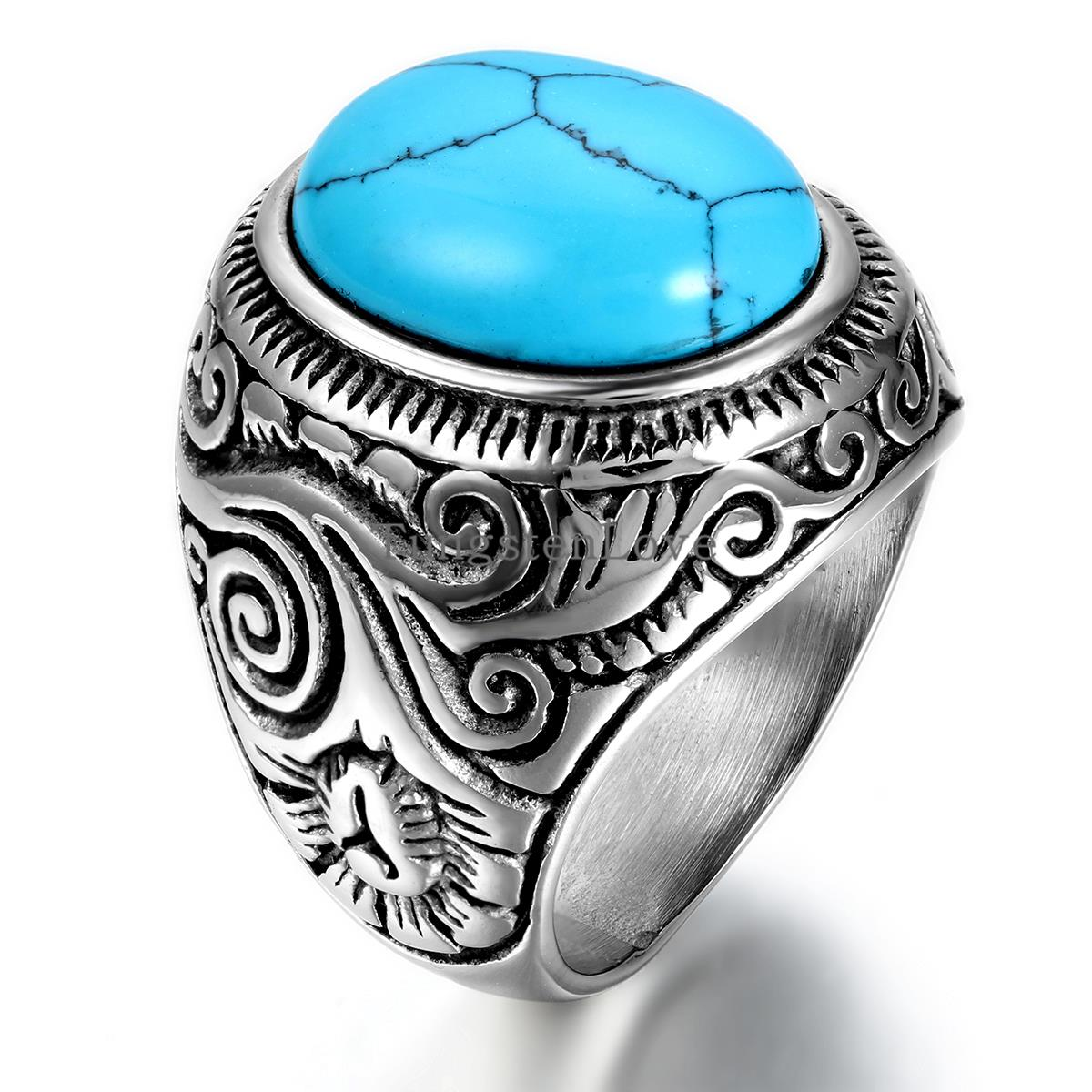 Vintage Classic Retro Men's Fake Turquoise Ring Mens Jewelry Stainless  Steel Rings, Blue Silver Color