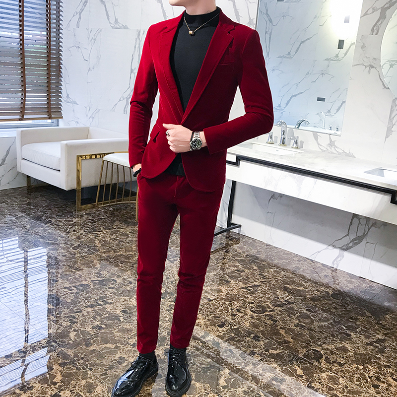 Red Suits Mens Luxury Wedding Suits For Mens Velvet Suits Mens Mariage Blackish Green Elegant Dress Flannel 2020 Costumes 2 Pcs