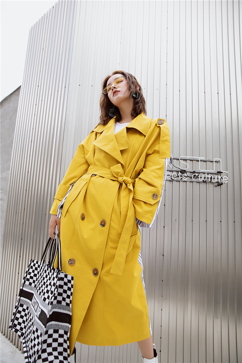 Korean Women Clothes 18 Autumn Windbreaker Female Long Coat New Style Striped Stitching Yellow Winter Trench Coat 9